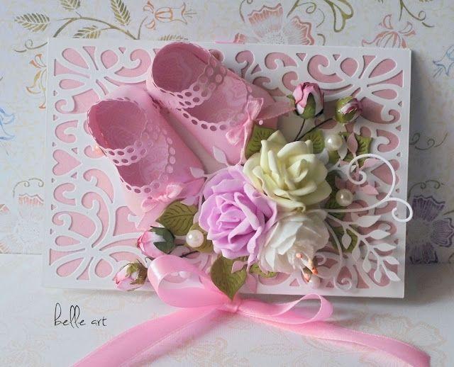 belle art: Kartka ażurowa z różowymi bucikami