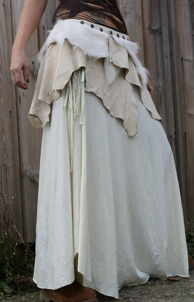 tribal nordic artic warrior skirt in ivory white leather and lamb fur pixies fairies