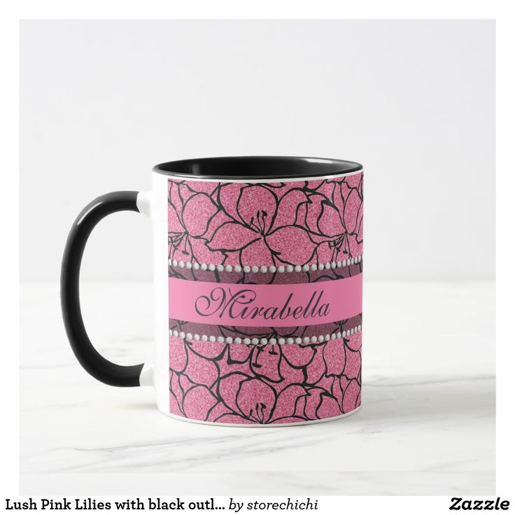 Lush Pink Lilies with black outline, pink glitter