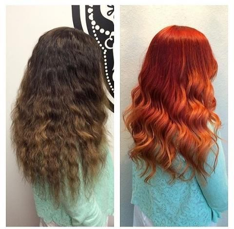 Paige Brueck(@rrreggad) of Roots Salon,Atlanta, Georgia, turned her client HOT COPPER for summer. We love! Here she shares the details: Starting level 5N with 7 ash roots. Step 1: Lift all over with Pravana bleach and 30 volume Redken developer. Step 2: Apply Pravana 6.66 red at the root and allow the red to wash out over the porous ends creating a golden copper blonde at the ends. Process according to manufacturers instructions.