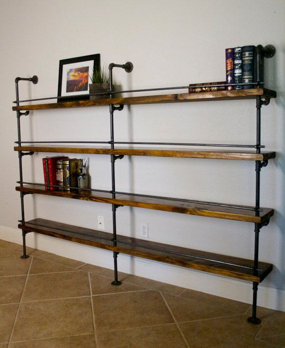 Industrial Shelving Unit (Industrial Bar, Industrial bookcase, Industrial bookshelves, pipe shelving unit) w/ optional reclaimed wood