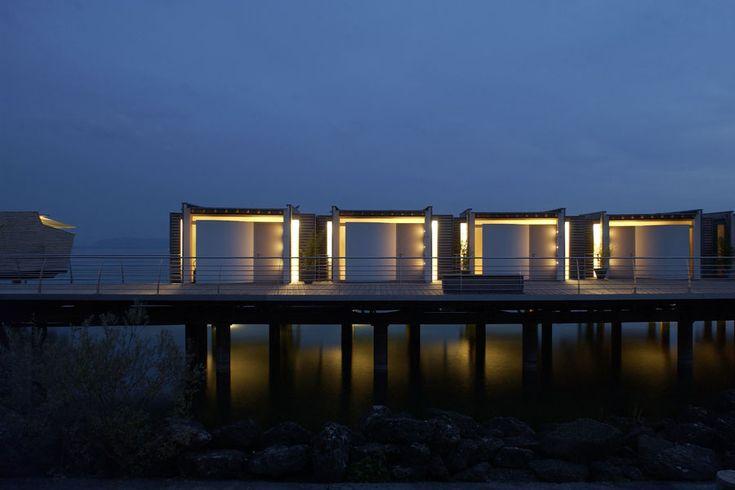 Lake pavillon by night at Palafitte Hotel, Neuchâtel