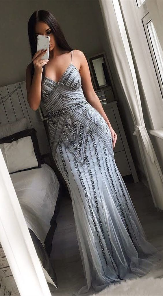 9121fe2cb2f9f3 Mermaid Spaghetti Straps Floor-Length Grey Prom Dress with Beading by  RosyProm, $186.19 USD