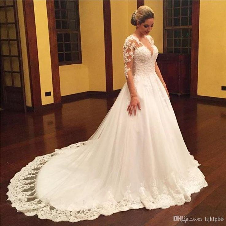 New Vestido De Noiva Vintage Lace Bridal Dress Long Sleeve Wedding Dresses Elegant Tulle