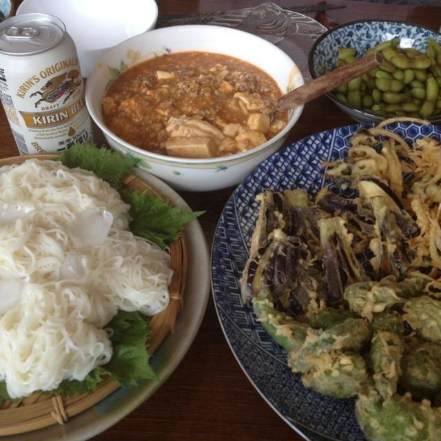 今日もダンナ実家でのんびりしています - 20件のもぐもぐ - 2013.8.16 麻婆豆腐と連日の天ぷら素麺ランチ by yumiochan