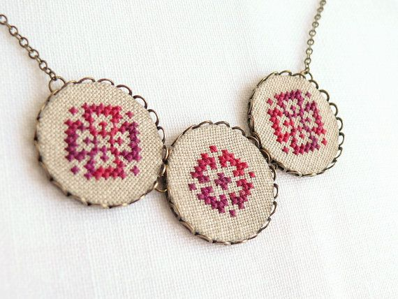 Cross stitch necklace with three ombre red ornament in by skrynka, $40.00