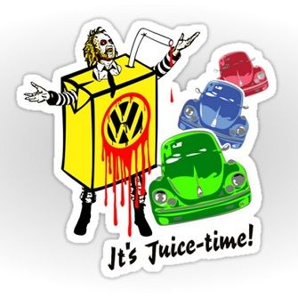 Beetlejuice and VW Beetle motor car.mashup parody. #vw #beetle #beetleguese #lovebug #herbie #volkwagen #beetlejuice #carton #juicedrinks #logos #juicetime #stickers #movies #characters #horror #comedy #humour #parodies #mashup #redbubble