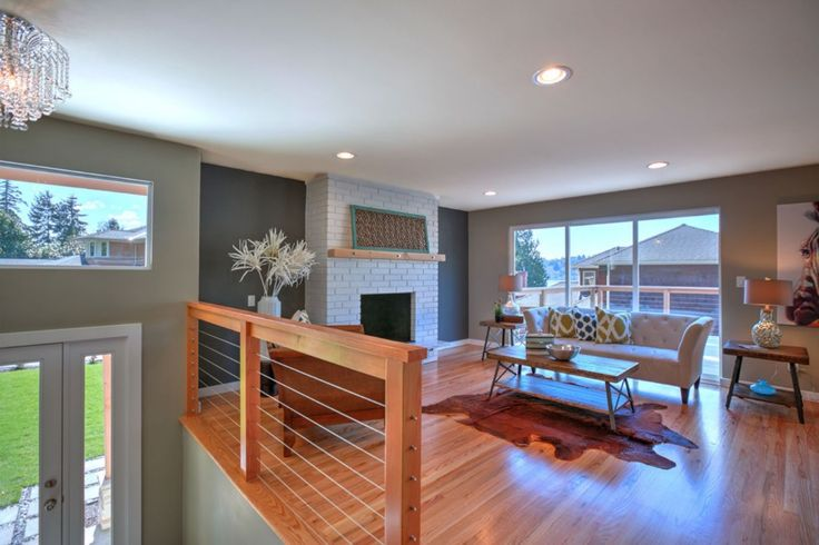 Perfect modern eclectic living room. Split entry remodel. Kirkland, wa