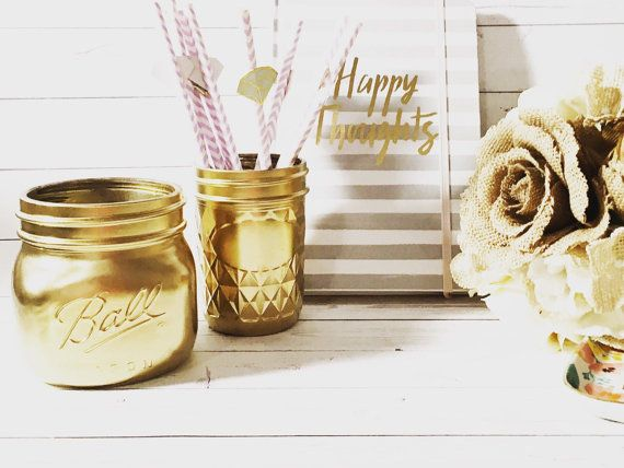 Gold Desk Accessory  Cute Office Accessories  This set of gold painted mason jars is perfect for cute office desk storage and decor! Use to hold pens and other odds & ends while keeping your desk stylish and chic.