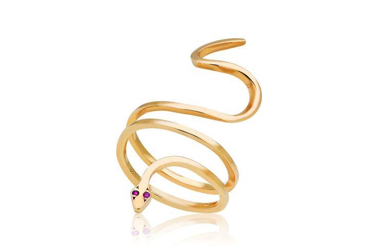 Ring Snake Δαχτυλίδι με κόκκινα cz από επιχρυσωμένο ασήμι 925.Price: 80€