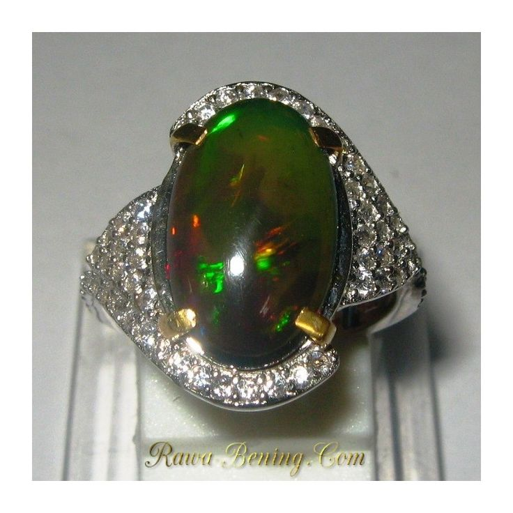 Promo Cincin Wanita Silver 925 Black Opal Multi Color Ring 6 US