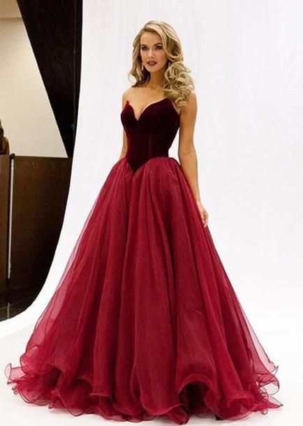 Burgundy Sweetheart Prom Dresses 2016 A Line Princess Bodice Puffy Long Evening Gowns Floor Length Party Dress Online with $151.15/Piece on Angelia0223's Store | DHgate.com