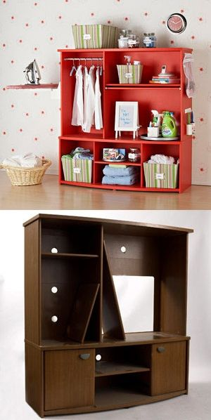 converted TV stand to baby storage. (THIS PICTURES USE IT FOR LAUNDRY STORAGE).Just think what it could do in a nursery