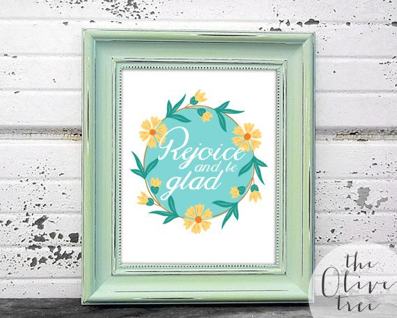 Bible Verse print, printable Scripture wall art decor, INSTANT DOWNLOAD - Rejoice and be glad