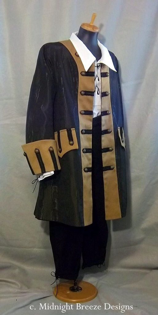 READY TO SHIP - Mens Renaissance Pirate Costume Frock Coat - Large  Size