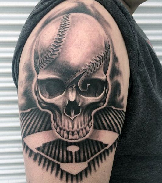 Skull Baseball Seams Tattoo For Males On Arm