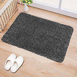 B&G Indoor Doormat Super Absorbs Mud Latex Backing Non Slip Door Mat for Front Door Inside Floor Dirt Trapper Mats Cotton Entrance Rug 18″x 28″ Shoes Scraper Machine Washable Carpet Grey