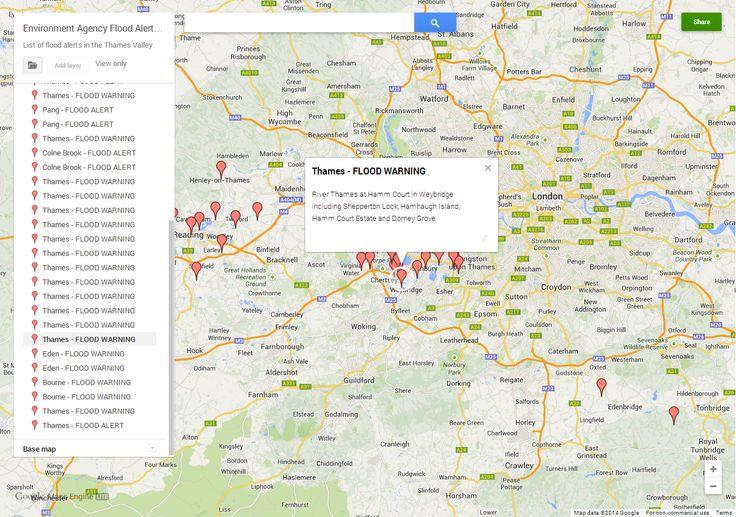 UK Map: Environment Agency Flood Warnings and Alerts map