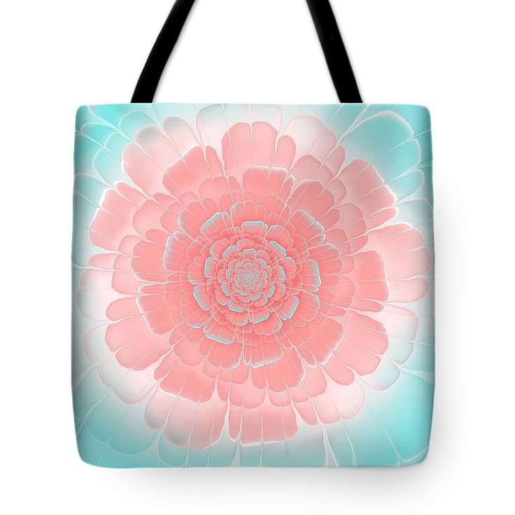 Abstract Tote Bag featuring the digital art Romantic Peach Flower by Oksana Ariskina #OksanaAriskina #Artworks #HomeDecor #FineArtPrints #FineArtAbstract #Fractal #Abstract #ArtForSale #Blue #Pink #Peach #Coral #Flower