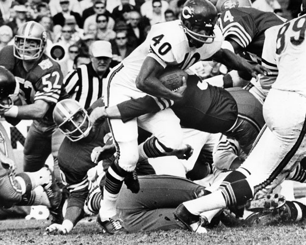 Gale Sayers only posted four NFL seasons of 10 or more games, but that was enough to garner enshrinement into the Pro Football Hall Of Fame in 1977 -- at the age of 34. In his rookie season, Sayers accounted for 1,374 total yards and 22 touchdowns (two on special teams). That year, Sayers scored six touchdowns against the 49ers -- a single-game NFL record that still stands today