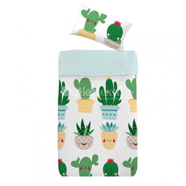 Funda Nórdica TEXAS Denisa Home. Una forma divertida de representar la poca vegetación existente en el desierto de Texas. Aparecen cactus de diferentes tamaños y colores con caras sonrientes.