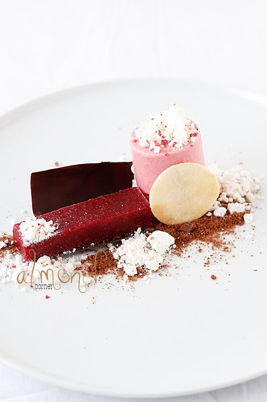 Almond Corner: Beetroot-blood orange parfait and raspberry sorbet with ...