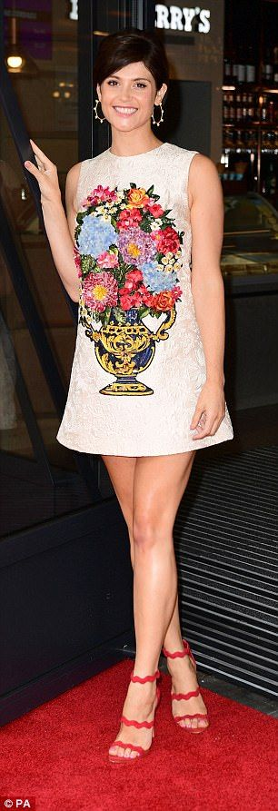 Pins on parade: The number proved to be thigh-skimming - allowing Gemma to show off her pi...