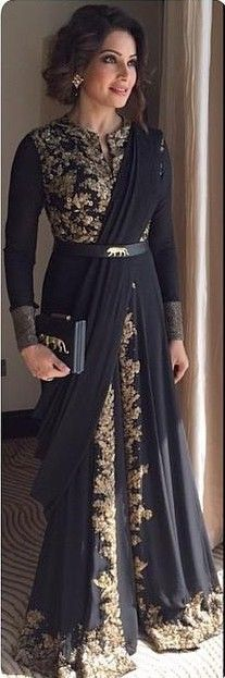 Long Sleeves Arabic Evening Gowns 2016 Gold Appliques Black Muslim Indian…