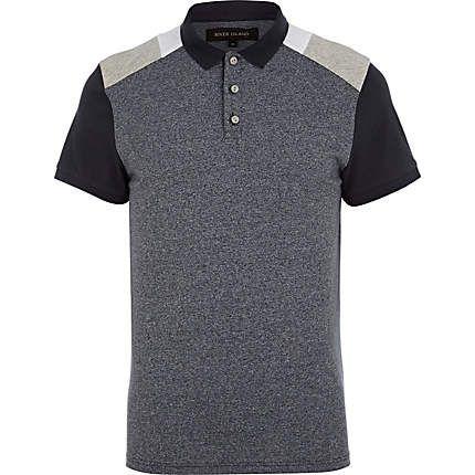Blue colour block polo shirt - polo shirts - men