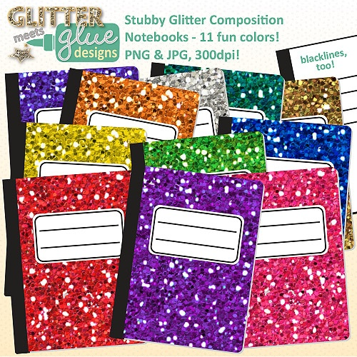 Stubby Glitter Composition Notebooks This is a really Cool idea I did this but with Pretty Cardstock!
