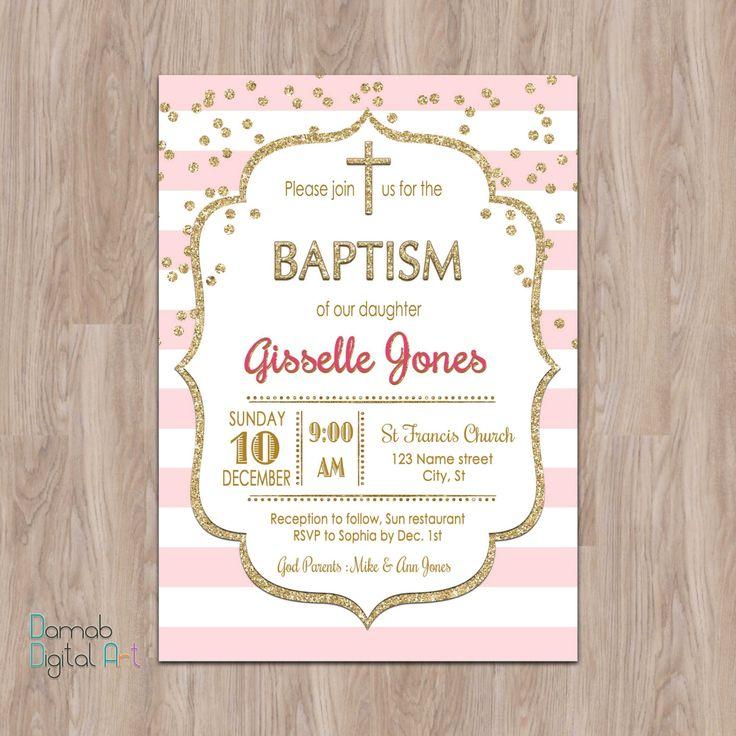 pink and gold baptism invitation Baptism by DamabDigital on Etsy