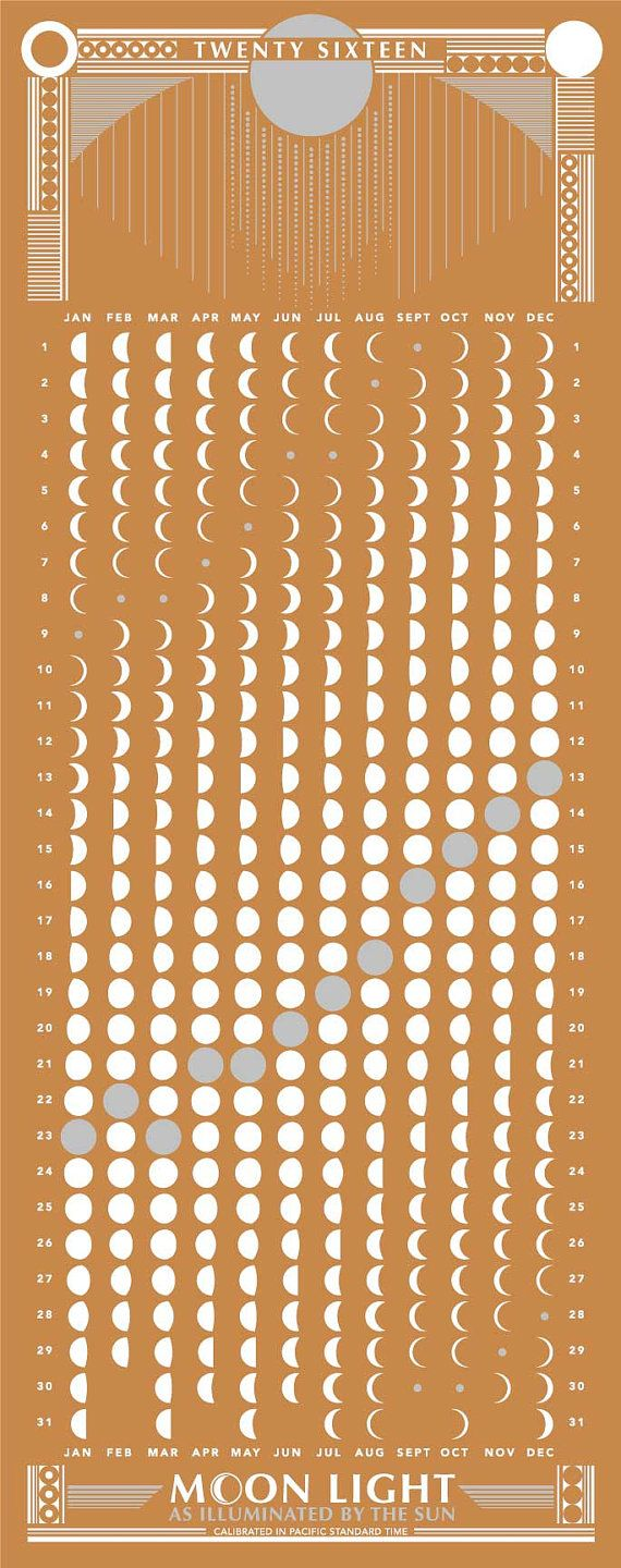 2016 MOON PHASES CALENDAR Moon Light as Illuminated by the Sun  DETAILS: Screen Printed 2 Color - white, metallic silver French Paper 80lb