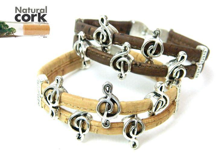 Portuguese cork crafts Cork bracelet, music symbol bracelet, natural, soft, original, fine jewelry, handmade REF-890