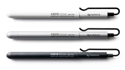 Another great pen (and pencil) (and eraser). While I love fountain pens, they're not always ideal. The Metaphys Locus 3-way Pen is a ballpoint pen, mechanical pencil, and eraser. It's also unbelievably pretty.