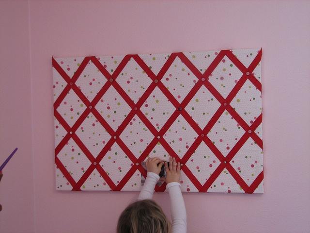 Headboard idea- Different fabric/ ribbon