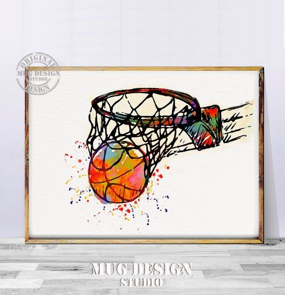 Basketball Art Basketball Print Basketball Watercolor Painting