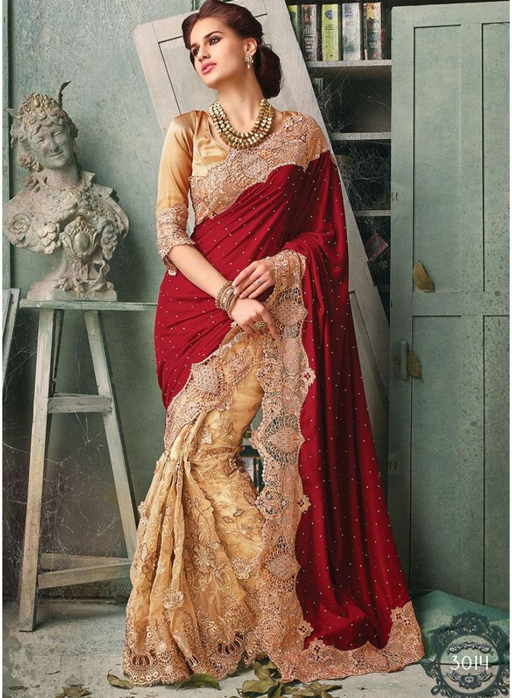 Velvet With Net Designer Bridal Saree  http://www.angelnx.com/