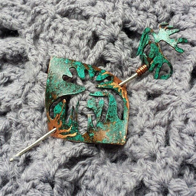 #oxidized #copper #pinshawl #patina #handmade #metalsmithing #jewelry #brooch