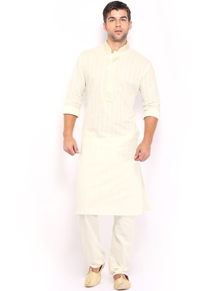 Manyavar Men Cream-Coloured Self-Striped Kurta Pyjama (yellow)