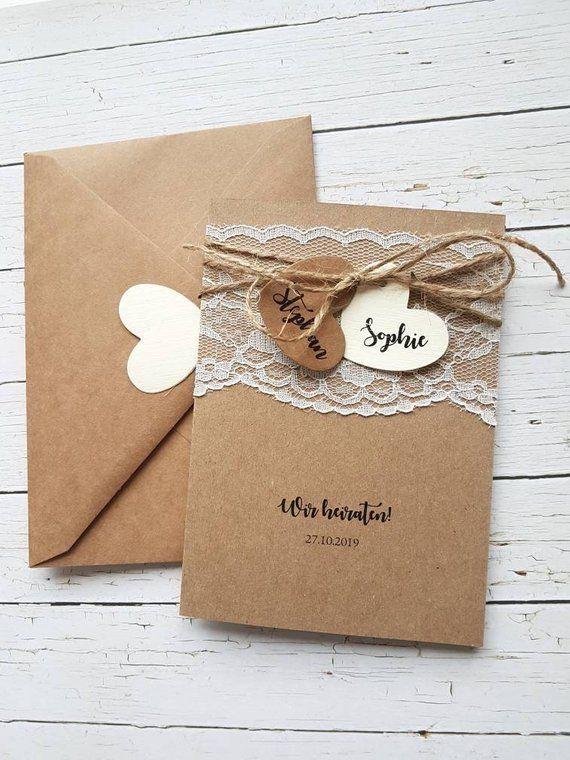 10x einladungskarten zur hochzeit aus kraftpapier