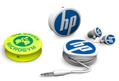Custom 2D logo ear buds with cord winder http://www.promobilia.com