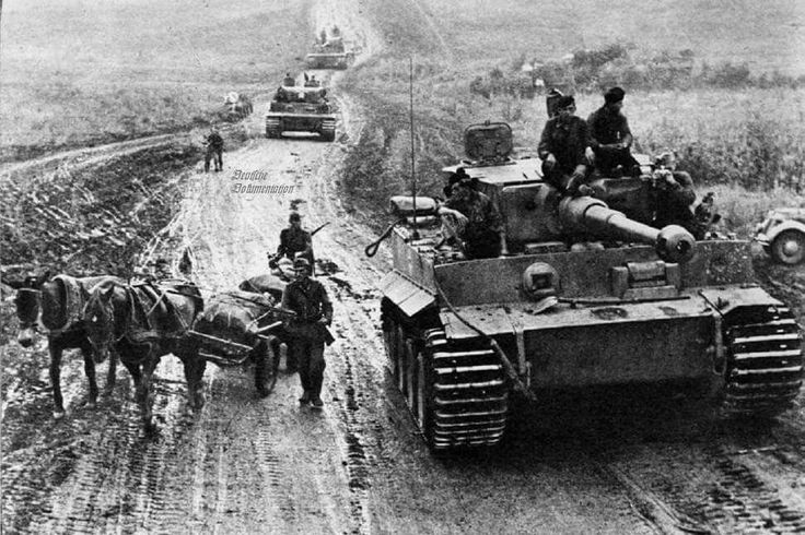 A German Tiger tank on the move.