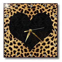 Amazon.com: 3dRose LLC Punk Rockabilly Cheetah Animal Print Black Heart Wall Clock, 10 by 10-Inch: Home & Kitchen