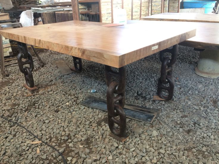 Solid Slab Table With Anchor Chain Legs