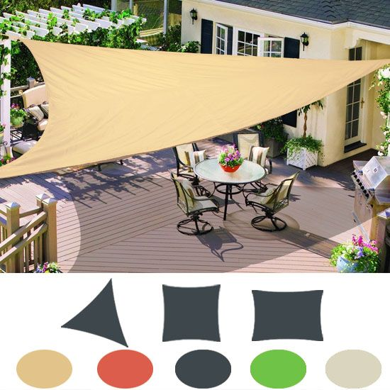 Patio Garden Sun Shade Sail Canopy Awning Sunscreen 98% UV Block 3 Shape New & Patio Garden Sun Shade Sail Canopy Awning Sunscreen 98% UV Block 3 ...
