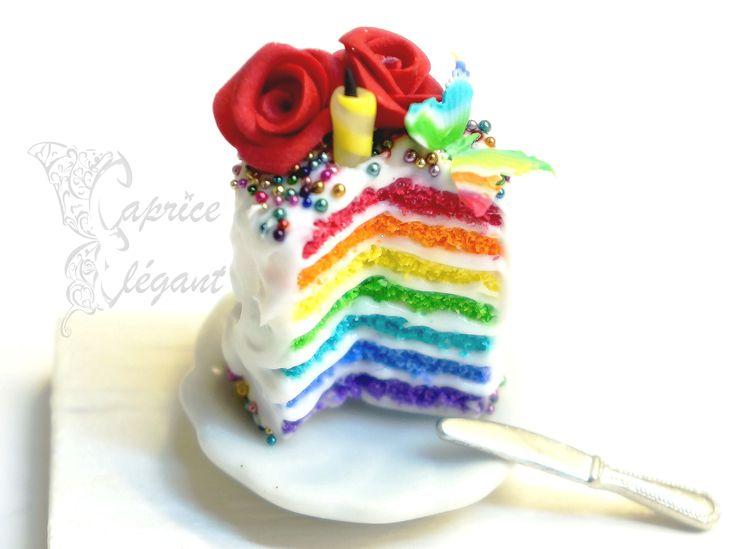 Miniature Food Rainbow Cake en pâte polymère par Tania Villard Hirsig