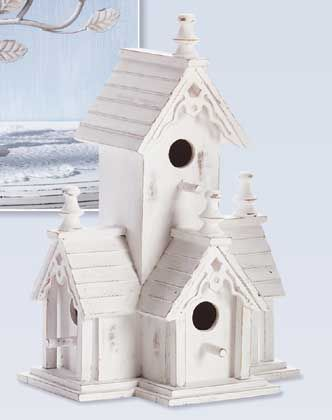 Victorian Birdhouse  Victorian style birdhouse features four roomy perches.  Distressed white-finished wood with gingerbread trim offers an heirloom look. Available now from Enchanted Shore