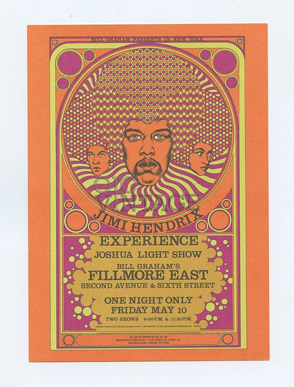 Jimi Hendrix Fillmore East 1968 May 10 Reprinted  by Bill Graham Enterprise in 1987