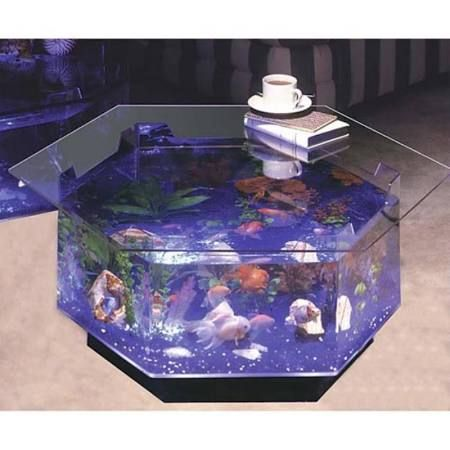 Midwest Tropical Aqua Octagon Coffee Table 40 Gallon Aquarium - O-100