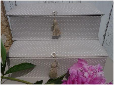 Boîtes de couture recouvertes de tissu à pois